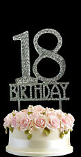 Crystal Monogran Happy 18TH Birthday Cake Topper Rhinestone Diamante Silver