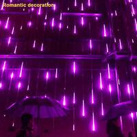 New Party LED Lights Meteor Shower Rain Snowfall Xmas Tree Garden Outdoor Purple