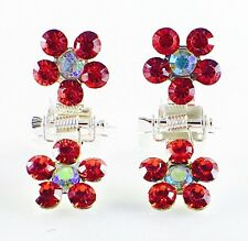 MINI Hair Claw Clip Rhinestone Crystal Hairpin Bridal Wedding Flower Red 09