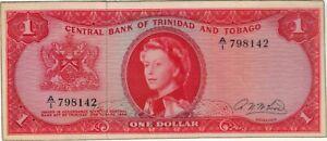 1964 1 ONE DOLLAR QUEEN ELIZABETH II TRINIDAD AND TOBAGO LAMINATED BANKNOTE BILL