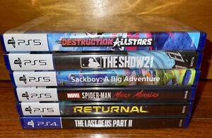NEW Lot Of 5 Sony PlayStation 5 Games & 1 PS4 Game • MLB The Show • Spider-Man