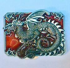 Chinese Dragon Belt Buckle Biker Gothic Metal Pewter Finish Calendar Martial