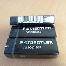 3 Pcs Staedtler Rasoplast Eraser 526 B20 9 Black Latex Phthalate Free