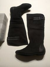 Womens Black Flat Suede Rain Riding Boots 9 Medium NEW