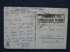WWII US Soldier Free Frank Army Cancel Postcard Missent to Veradale Washington