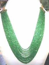 500 ct Designer 13 Strand 100% Natural Emerald Stone Beads 2mm * 4mm Necklace