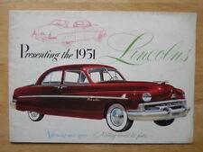 LINCOLN LIDO COSMOPOLITAN SPORT CONVERTIBLE orig 1951 USA Mkt sales brochure