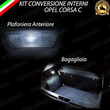 KIT FULL LED INTERNI OPEL CORSA C PLAFONIERA ANTERIORE + BAGAGLIAIO 6000K