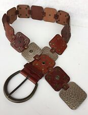 NEW Fossil Concho Belt Brown Tooled Patchwork Leather Western Sz S Boho /Rodeo