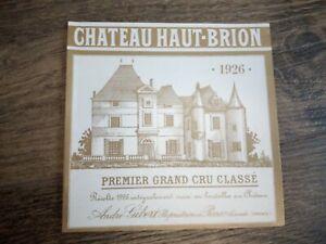 WINE LABEL/vin etiquette - old CHATEAU HAUT BRION 1926 - RARE