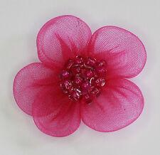10 X Handgefertigt Organza Blumen Zum Aufnähen Applikationen Farbe: Kirschrot #1