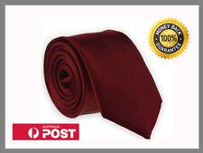 Wine Dark Deep Red New Slim Solid Mens silk Tie groom wedding skinny Necktie