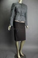 $3700 New AKRIS Gray White Tobago Boucle Tweed Wool Nylon Belt Crop Jacket 12 42