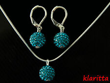 Shamballa Set Turquoise Crystal Disco Ball Earrings &  Necklace CC146