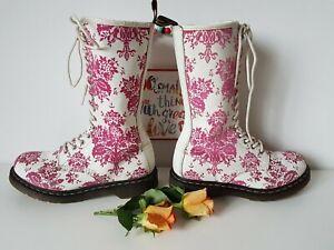Rare Dr martens 14 eye pink white floral velvet 1b99 boots UK 6 EU 39 US 8