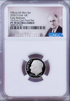 2020 S Proof 10C Clad Roosevelt Dime 10-coin-set Version NGC PF70 ULTRA CAMEO ER