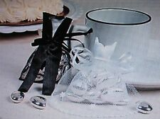 96 BRIDE and GROOM FAVOR BAGS Satin & Tulle wedding table bridal shower party