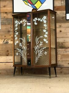 Mid Century, Retro, Vintage, Glass Display Cabinet with Glass Doors, 1960s