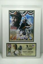 TONY GWYNN 100% AUTHENTIC SIGNED NATIONAL BASEBALL HALL OF FAME USPS MATTED ART