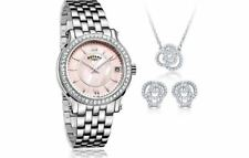 Rotary Ladies Stone Set Bezel Pink Mother of Pearl Dial Watch + Set LB03030/07