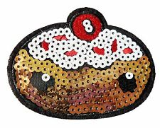Iron Patch Sew Embroidered Sequins Badge Cloth Sequin Motif Patches cake #2