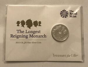 "2015 .999 SILVER TWENTY POUND (£20) COIN ""THE LONGEST REIGNING MONARCH"""