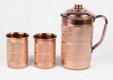 Handmade Copper Jug 1.5ltr Drinking Water Storage Pitcher & 2 Glasses Set