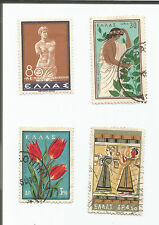 GREECE; LOT OF 4; art and flowers;   USED *S