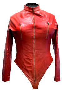 Womens Cosplay Real Leather Catsuit Clubwear Bodysuit Jumpsuit laceup back