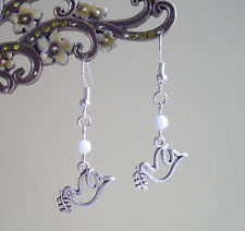 Sweet Dove Charm and White Bead Dangly Earrings - Hippy Boho Peace