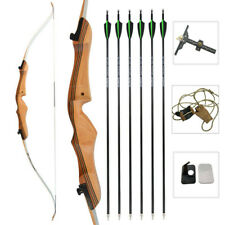 "68"" Archery Takedown Recurve Bow Wooden 18-38lbs Carbon Arrows Target Hunting"