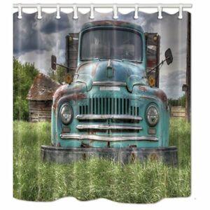 Rustic Truck Old Farm House Fabric Shower Curtain Bathroom Waterproof 69x75 inch