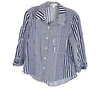 Anthropologie Eri+Ali Stirped Button Up Shirt 3/4 Sleeve Blue White Size Medium