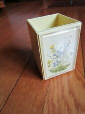 Vintage Hallmark Wildflowers Pencil Holder Desk Topper Cup USED Yellow FREE SHIP