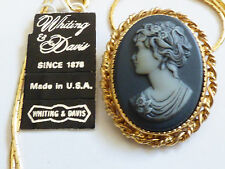 Whiting & Davis VTG Gold Tone Metal Cameo pendant & round chain Necklace w tag