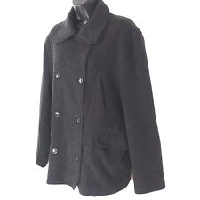 J Crew womens coat L wool cashmere blend charcoal gray double breast button pea