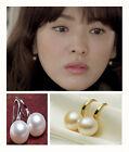 Fashion Women Akoya Freshwater Pearl hook Earrings Genuine Natural 6-7mm White
