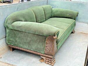 Sofa antik Couch Federkern Samt  grün bequem Möbel Löwenfüße