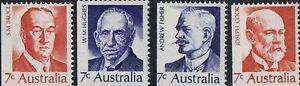 Australian 1972 MNH PM Stamps Set of 4x 7c - Second Prime Minister series Issues