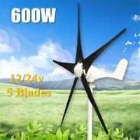 Max 600W 12/24V Horizontal Residential 5 Blade Wind Turbine Generator