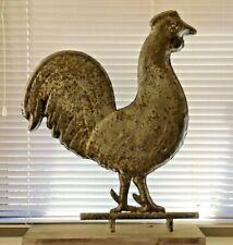 "Rooster Weathervane, Large 26""x18"" Metal Handmade, Rustic Patina, Old Wood Base"
