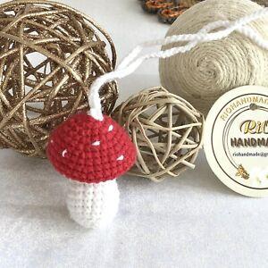 Crochet Mushroom Car Rear View Mirror Hanging- Car Accessories