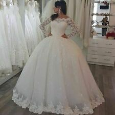 White Ivory Wedding Dresses Long Sleeve Ball Bridal Gowns Lace Appliques Custom