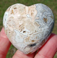 White CRAZY LACE Agate Crystal Healing Heart Point Super Color Orbs Pattern Vugs