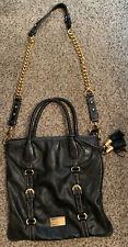 Badgley Mischka Black Leather Tote Shoulder Crossbody Bag Gold Chain & Tassels