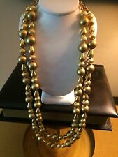 Vintage Gold Tone Smooth Textured Beaded Double Strand Hook Necklace Unsigned