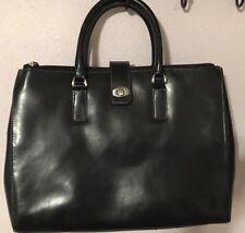 FRANKLIN COVEY Black Leather Briefcase Messenger Shoulder Bag