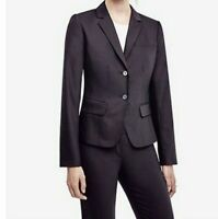 Ann Taylor Size 4 Black Solid 2 Button Blazer Lined Jacket Career