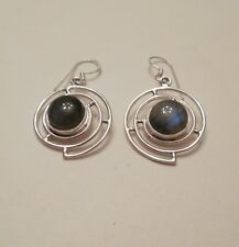 Vintage Sterling Silver Labradorite Dangle Earrings, Round Southwest style