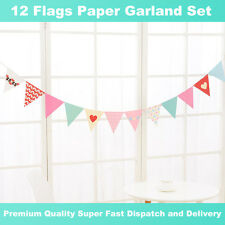 Hot Sale! Heart Paper Flags Garland Bunting Banner Celebration Party Decoration